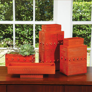 Dot Dash Tall Orange Vase