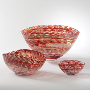Red Swirl Small Oval Bowl