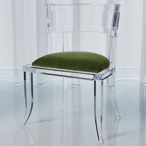 Klismos Emerald Green Acrylic Chair