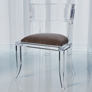 Klismos Pewter Acrylic Chair
