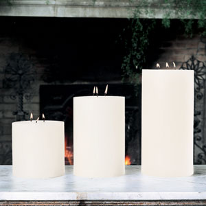 3-Wick Unscented Pillar Candle - 6 x 12