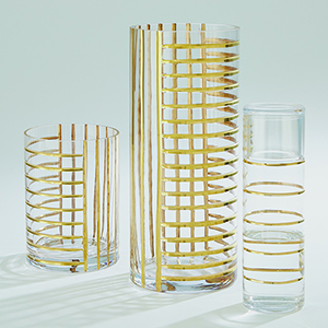 Glass Gold Grid Carafe with Cup