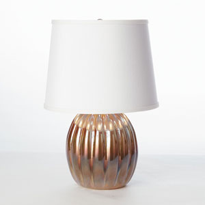 Studio A Mini Amber Ribbed Glass Lamp