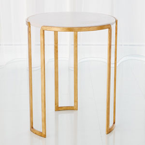 Studio A Gold Leaf Channel Accent Table