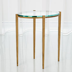 Studio A Petite Oval Antique Gold Accent Table