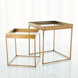 Antique Brass Perfect Nesting Tables, Set of 2