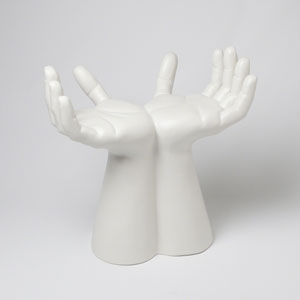 Studio A Matte White Hands Stool