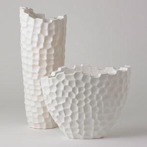 Studio A Random Grid Matte White Short Vase