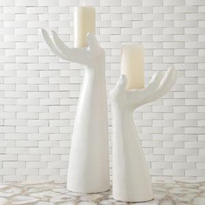 Studio A Palm Right Matte White Candleholder