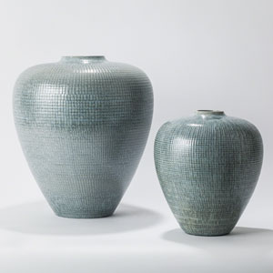 Studio A Check Bulbous Small Reactive Silver Blue Vase