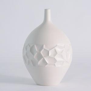 Studio A Honeycomb Matte White Large Vase