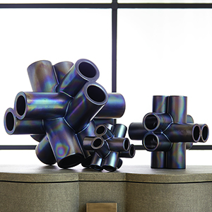 Studio A Large Black Luster Cube Tube Sculpture