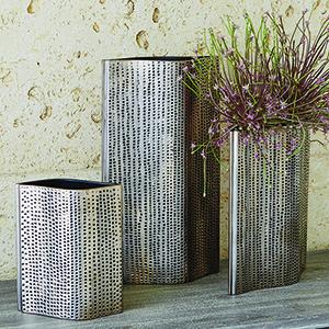 Studio A Pierced Reactive Graphite Large Vase