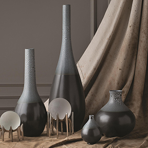 Studio A Eggshell Grey and Blue Large Vase