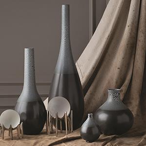 Studio A Eggshell Grey and Blue Mini Vase