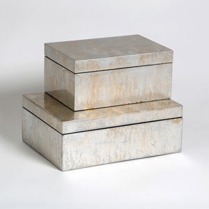 Studio A Champagne Large Silver Leaf Box