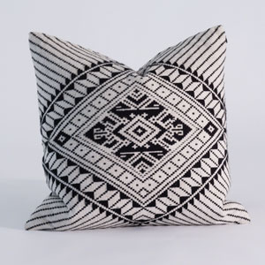 Studio A Hill Tribe White and Black 20-Inch Pillow