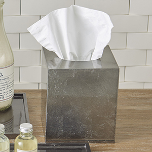 Studio A Gunmetal Silver Leaf Tissue Box