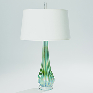 Studio A Irys Blue Ribbed Glass with Silk Shade One-Light Lamp