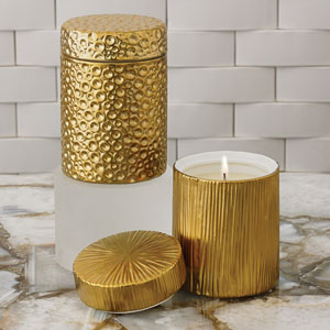 Studio A Ocean Sandalwood Teak Gold Jar Candle