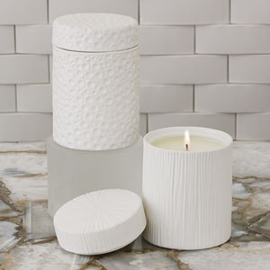 Studio A Ocean Sandalwood Teak White Jar Candle