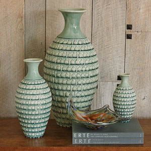 Studio A Sienna Turquoise Crackle Medium Vase