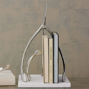 Studio A Wish Silver Leaf and White Marble Sculpture