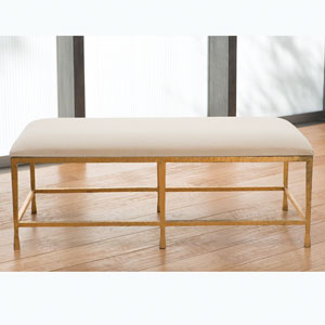 Studio A Quad Pod Gold Leaf Bench with Muslin Cushion