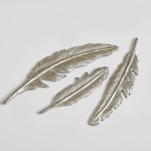 Studio A Small Silver Feather Leaf