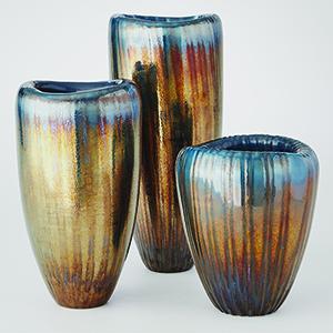 Studio A Deep Blue and Metallic Tear Drop Folded Medium Vase