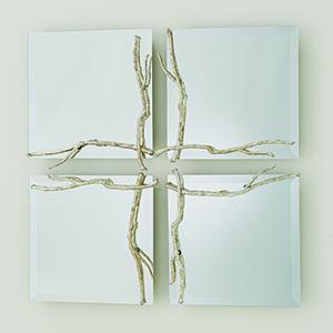 Studio A Small Silver Leaf Twig Mirror