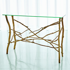 Studio A Gold Leaf Twig Console Table
