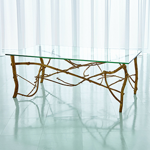 Studio A Gold Leaf Twig Cocktail Table