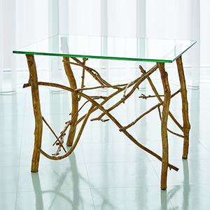 Studio A Gold Leaf Twig End Table
