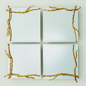 Studio A Small Gold Leaf Twig Mirror