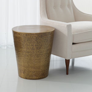 Studio A Izmir Hammered Antique Brass Side Table