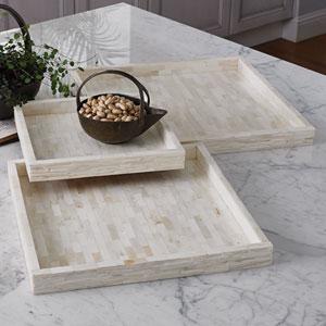 Studio A Chiseled Bone Large Tray