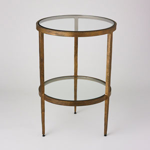 Studio A Laforge Two-Tiered Antique Gold Side Table