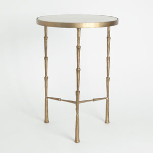 Studio A Spike Brass with White Marble Accent Table
