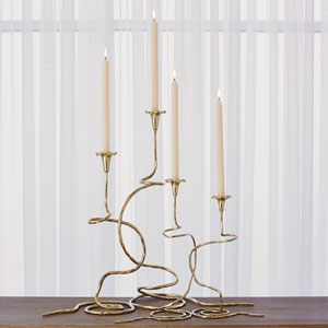 Studio A Brass Morning Glory Large Candleholder, Set of Two