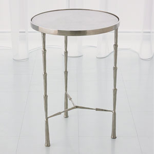 Studio A Spike Nickel with White Marble Accent Table