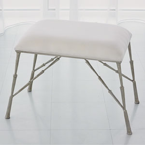 Studio A Spike Antique Nickel Bench with Muslin Cushion