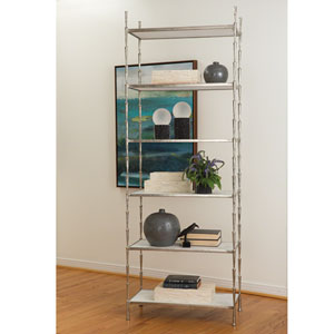 Studio A Spike Antique Nickel Etagere with White Marble