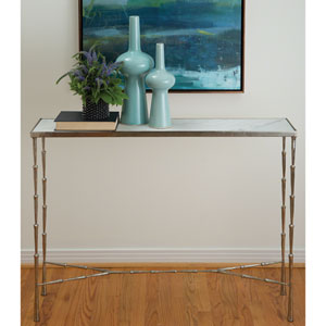 Studio A Spike Antique Nickel Console Table with White Marble