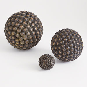 Studio A Wooden Weathered Charcoal Small Orbs