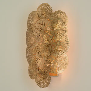Studio A Lily Pad Antique Brass Hardwired Two-Light Wall Sconce