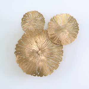 Studio A Antique Brass Lily Pad Clusters, Set of Three