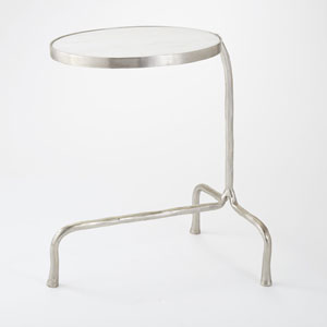 Studio A Cantilever Nickel with White Marble End Table