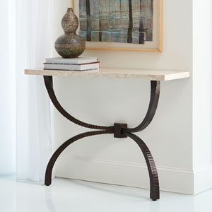 Studio A Teton Bronze with Travertine Top Console Table
