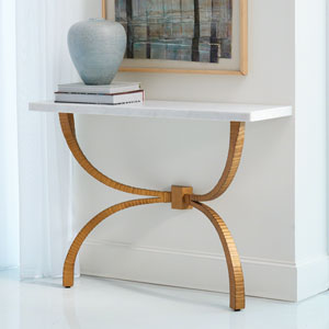 Studio A Teton Gold with White Marble Top Console Table